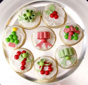 Candy Decorated Christmas Sugar Cookies from Jamie Cooks It Up