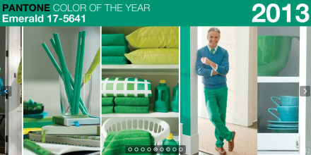 """Lively. Radiant. Lush… A color of elegance and beauty that enhances our sense of well-being, balance and harmony."" Click image for EMERALD design ideas and see how this elegant jewel-toned color will used in design palettes coming your way."